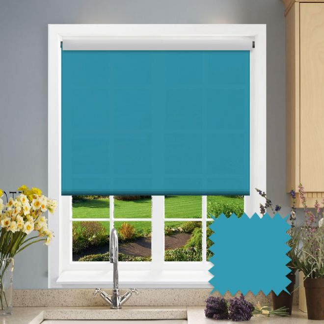 Teal Roller Blind - Astral Twist Plain - Just Blinds
